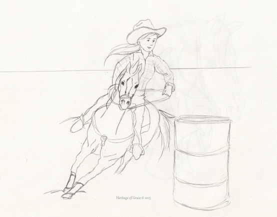 cowgirl horse barrel racing sketch
