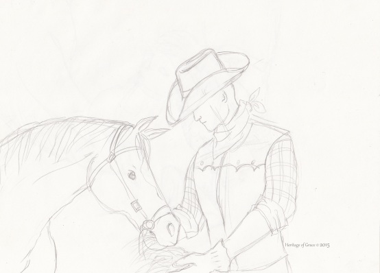 cowboy horse drawing